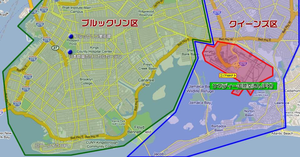 ニューヨーク市クイーンズ区地図(ニューヨーク郊外の地図)