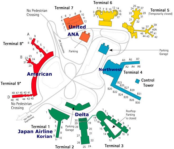 ケネディー空港(ケネディーエアポート、JFK空港)の地図
